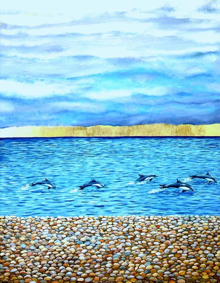 Dolphins in Chesil Cove